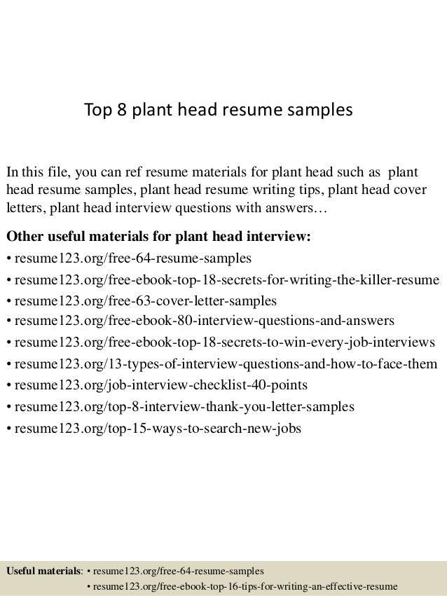 top 8 plant head resume samples