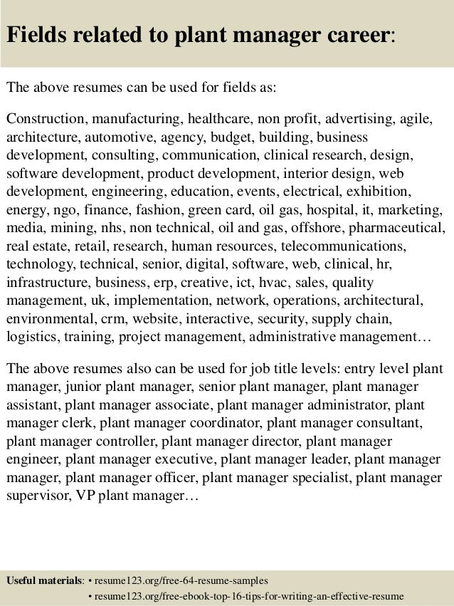 16 fields related to plant manager