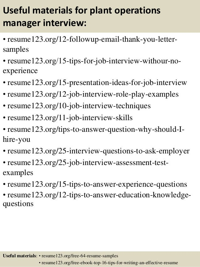 top 8 plant operations manager resume samples