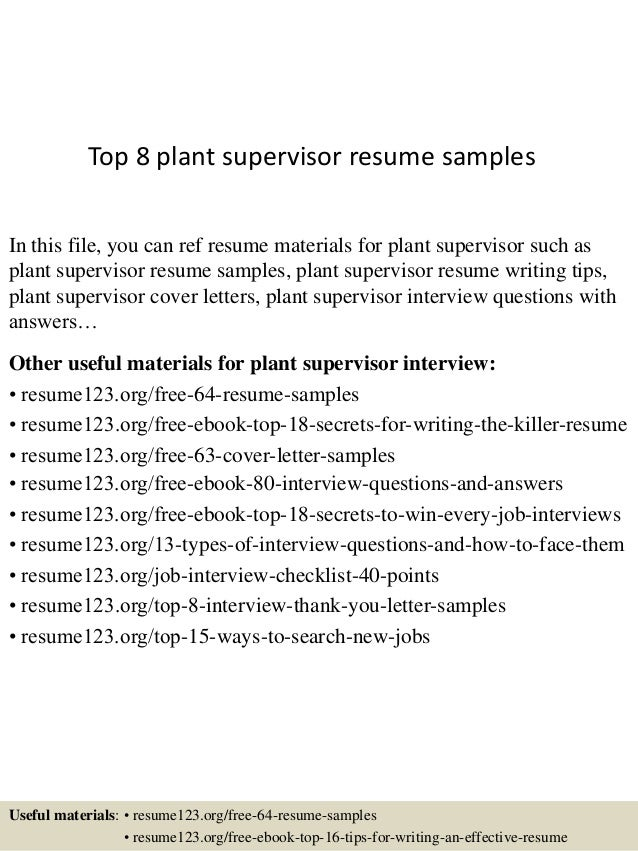 Top 8 Plant Supervisor Resume Samples
