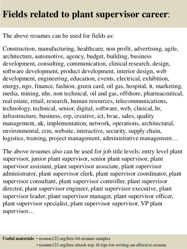 ... 16. Fields related to plant supervisor ...