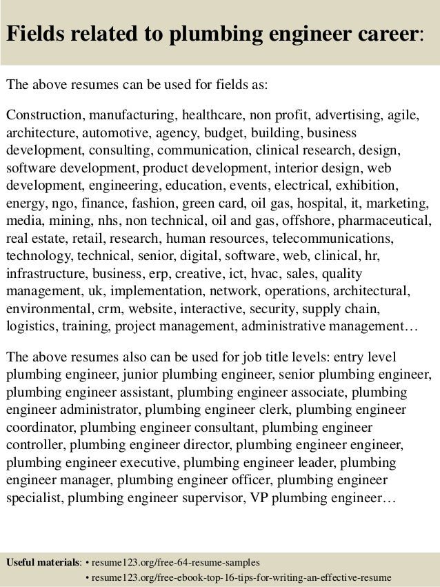 Fields Related To Plumbing Engineer