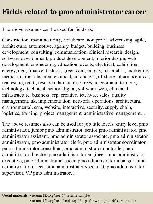 top 8 pmo administrator resume samples