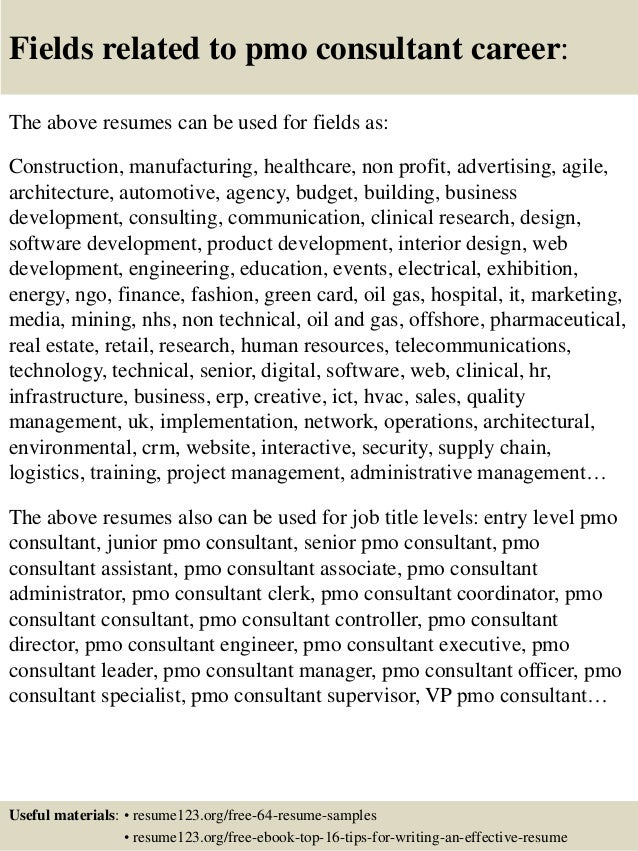 top 8 pmo consultant resume samples