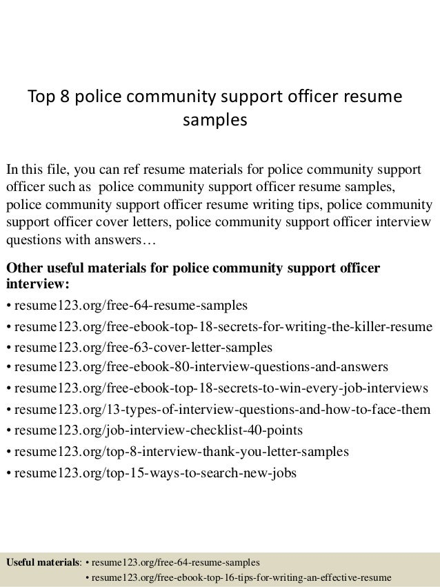 Top 8 Police Community Support Officer Resume Samples In This File, You Can  Ref Resume ...