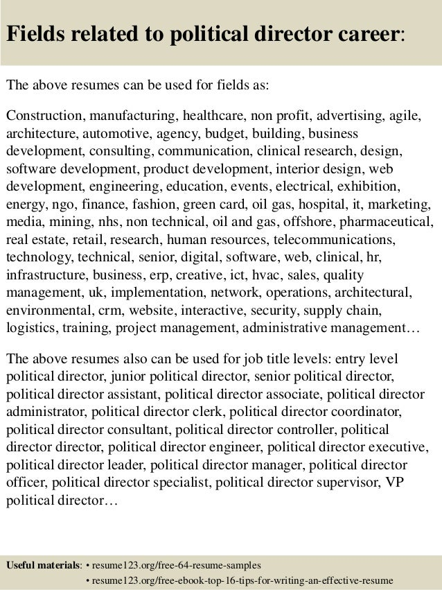 ... 16. Fields Related To Political ...  Political Resume