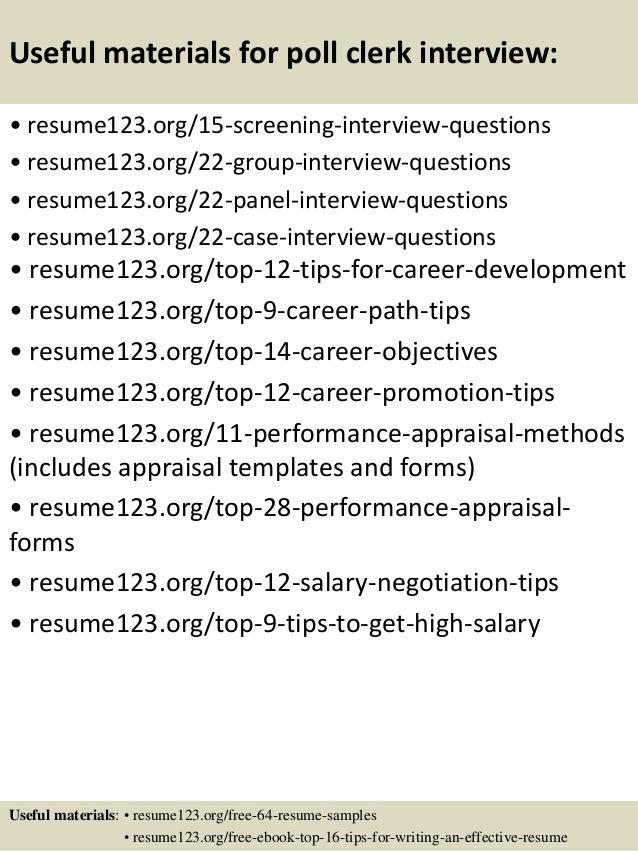 Top 8 poll clerk resume samples