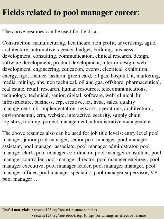 Top 8 pool manager resume samples
