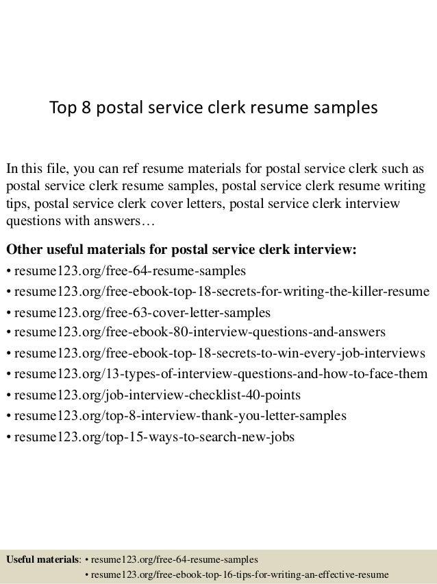 Marvelous Postal Clerk Resume Sample