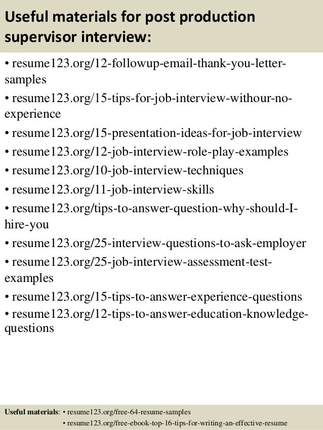 Sample Production Supervisor Resume | Resume Format Download Pdf