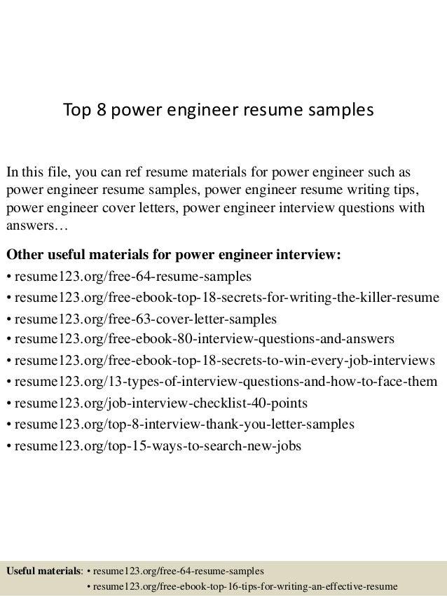 Top8powerengineerresumesamples1638jpgcb1432128320 - Power Resume Samples