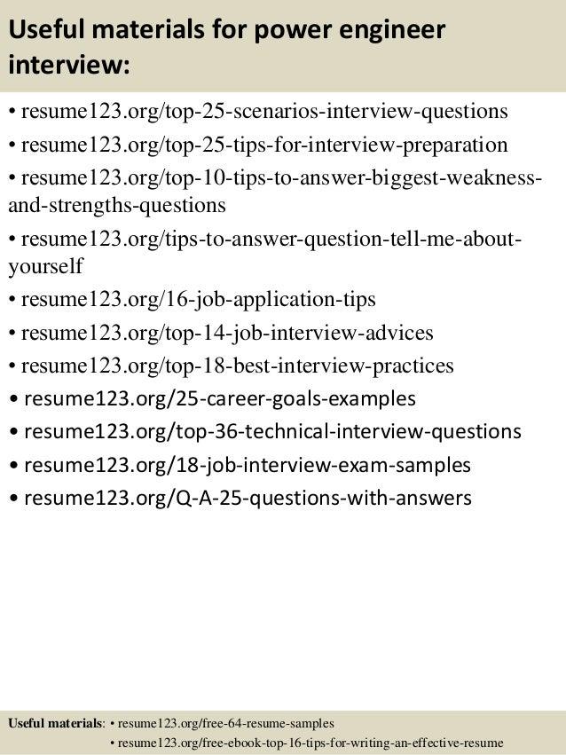 13 useful materials for power engineer - Power Engineer Sample Resume