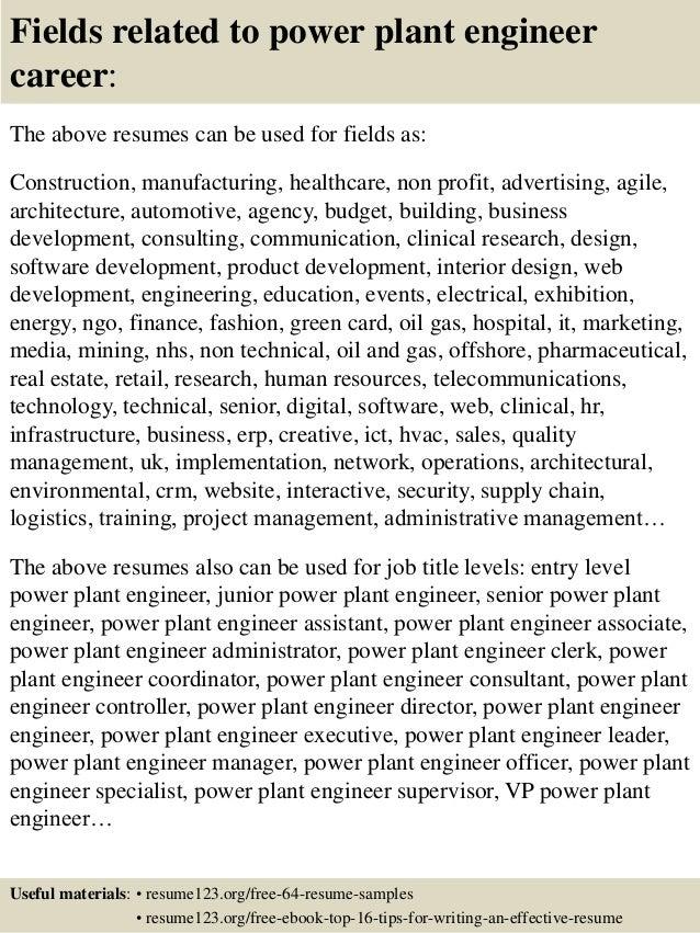 Top 8 power plant engineer resume samples