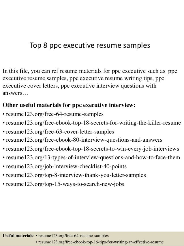 Top 8 Ppc Executive Resume Samples In This File, You Can Ref Resume  Materials For ...