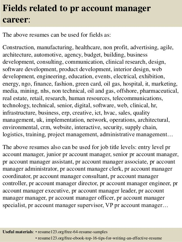 Top 8 pr account manager resume samples