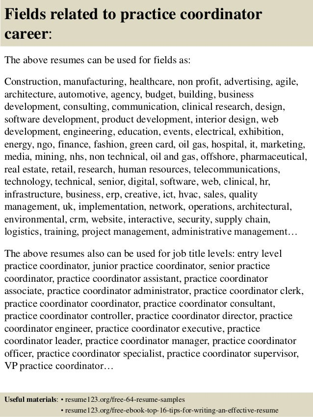 16 fields related to practice