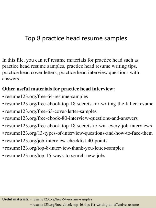 Top 8 Practice Head Resume Samples