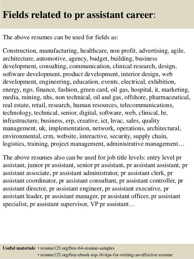 Top 8 Pr Assistant Resume Samples