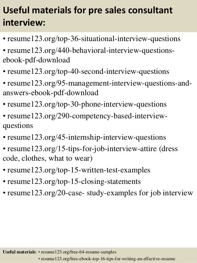 Pre Sales Consultant Resume Objective