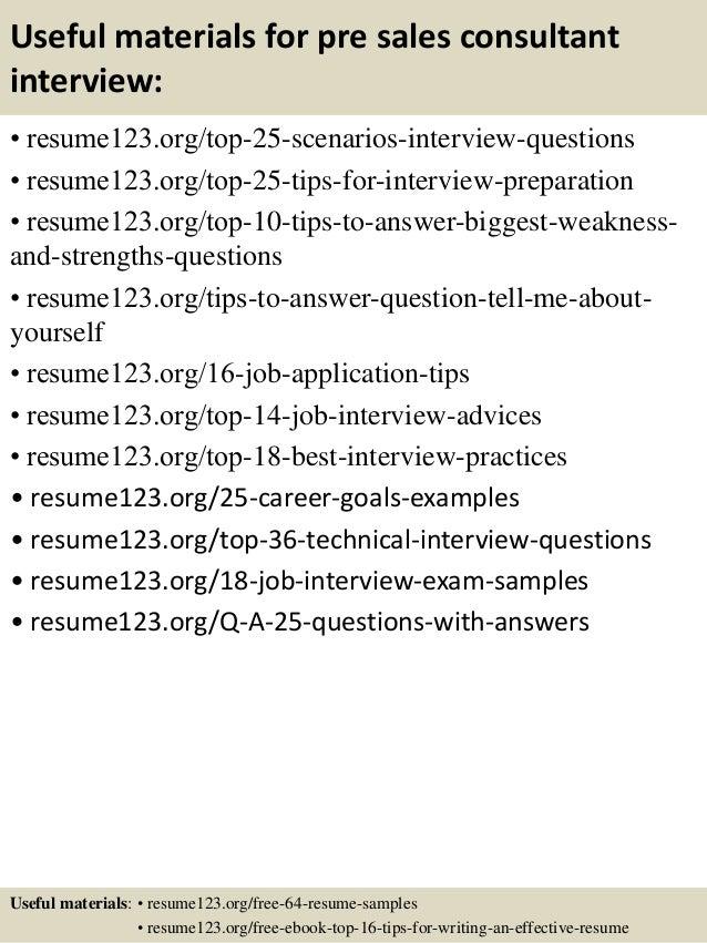 top 8 pre sales consultant resume samples