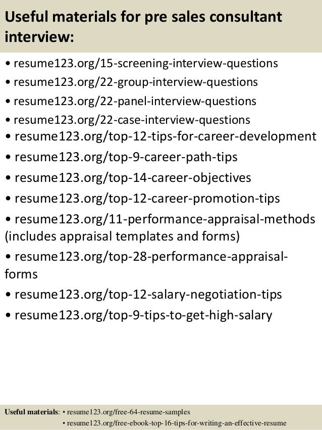 Top 8 pre sales consultant resume samples