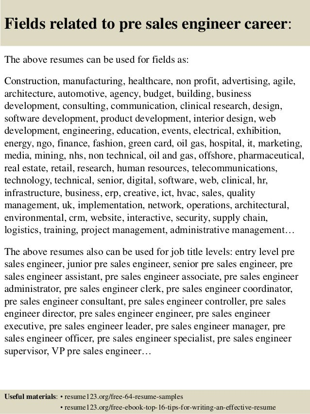 top 8 pre sales engineer resume sles