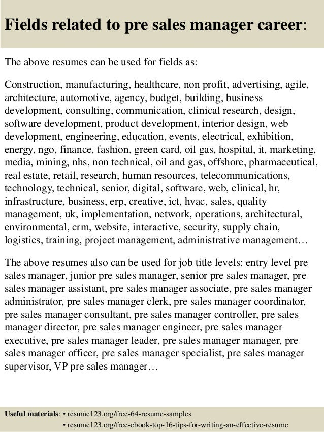 16 fields related to pre sales manager - Sample Resume Pre Sales Manager
