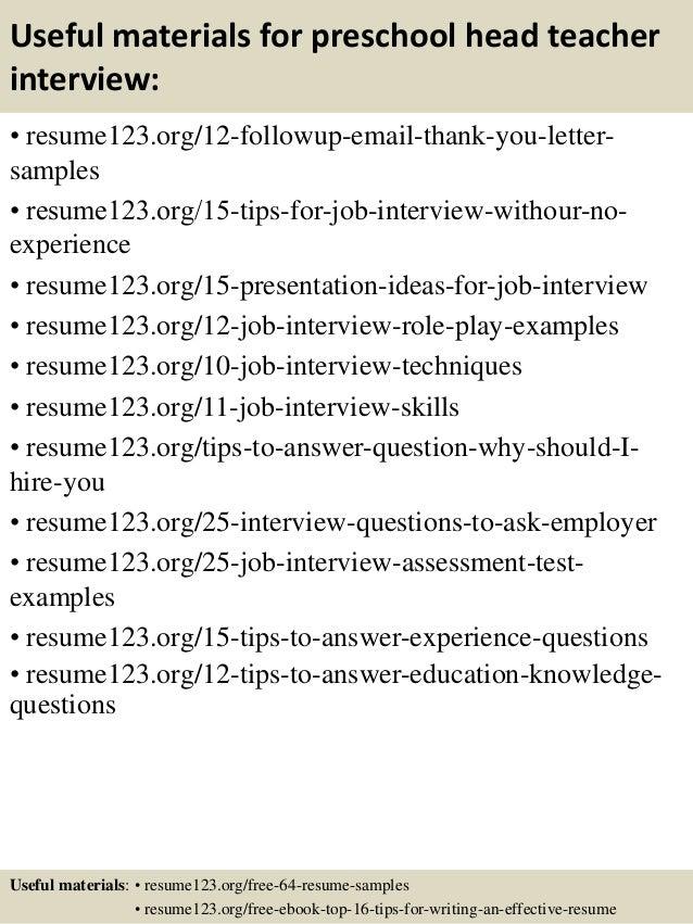 ... 14. Useful materials for preschool head teacher ...