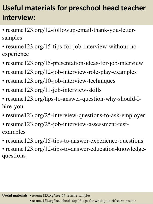 Top 8 preschool head teacher resume samples