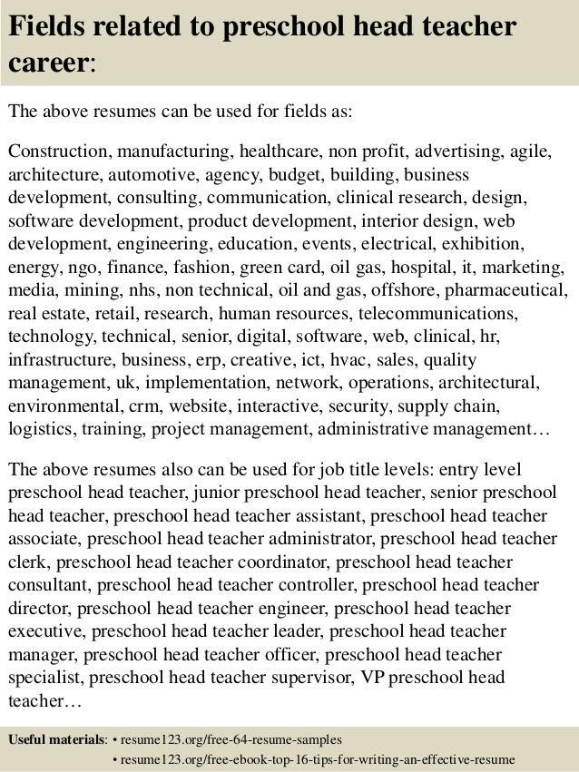 ... 16. Fields Related To Preschool Head Teacher ...