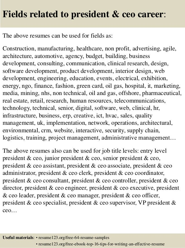 Top  President  Ceo Resume Samples