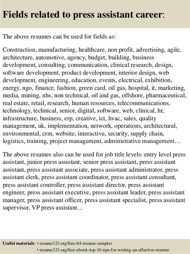 Top 8 Press Assistant Resume Samples