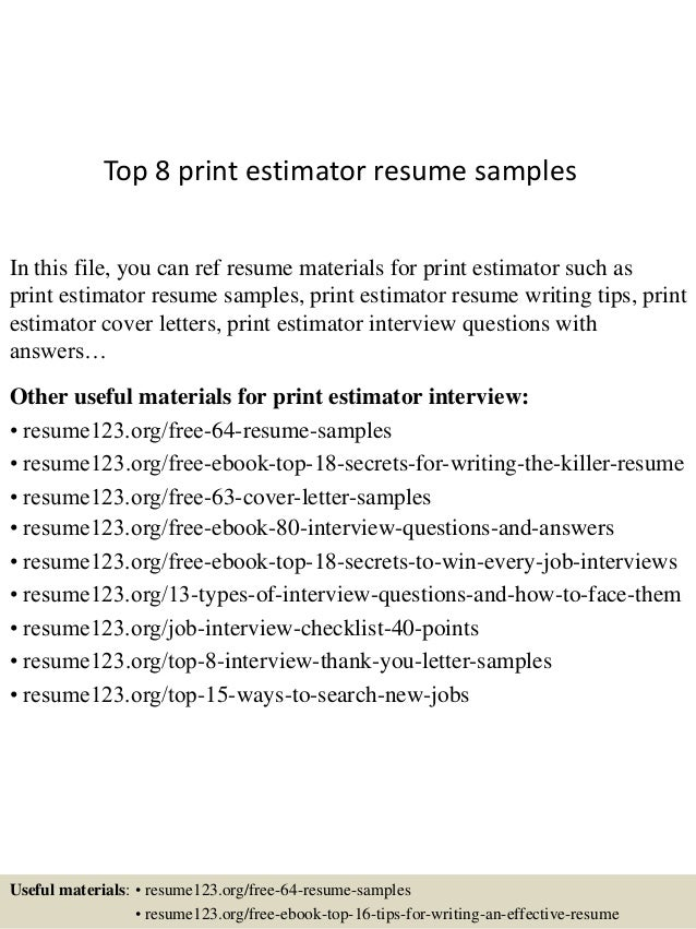 Top 8 print estimator resume samples