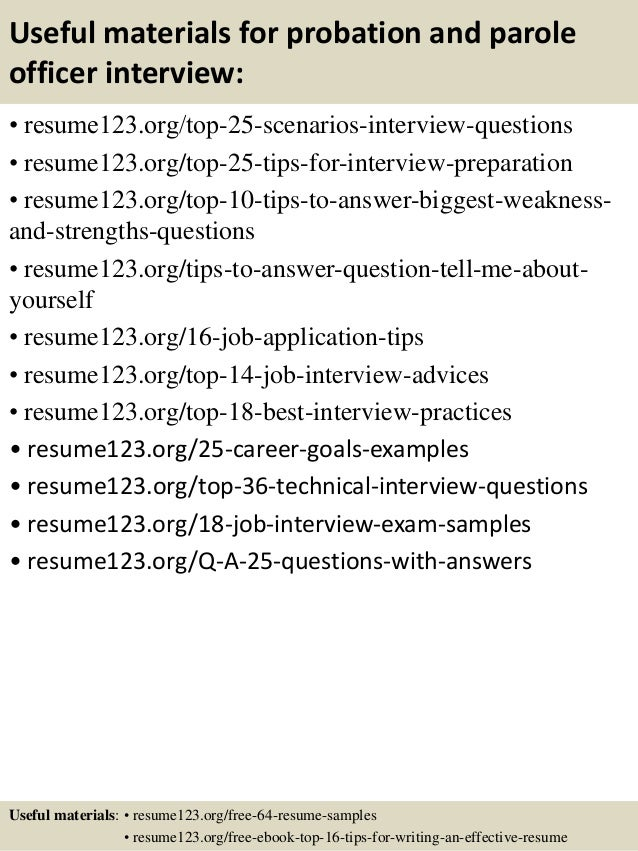 13 useful materials for probation and parole officer - Probation And Parole Officer Sample Resume