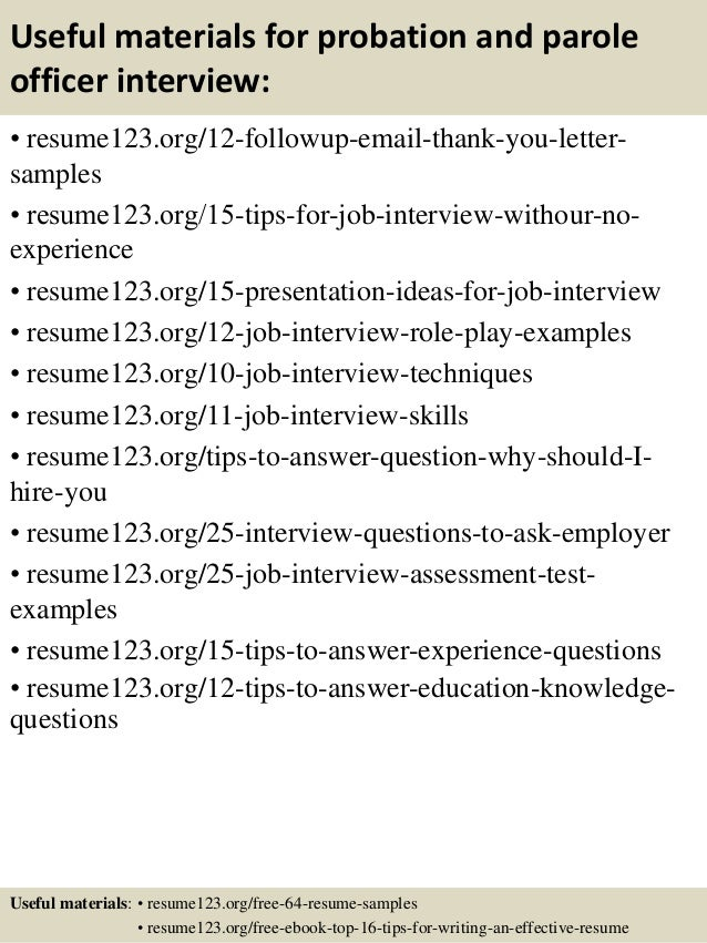 14 useful materials for probation and parole officer - Probation And Parole Officer Sample Resume