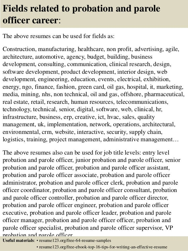 16 fields related to probation and parole officer - Probation And Parole Officer Sample Resume