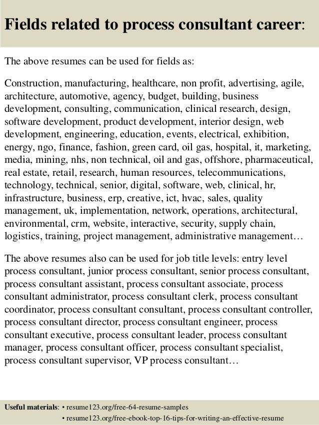 ... 16. Fields related to process consultant ...