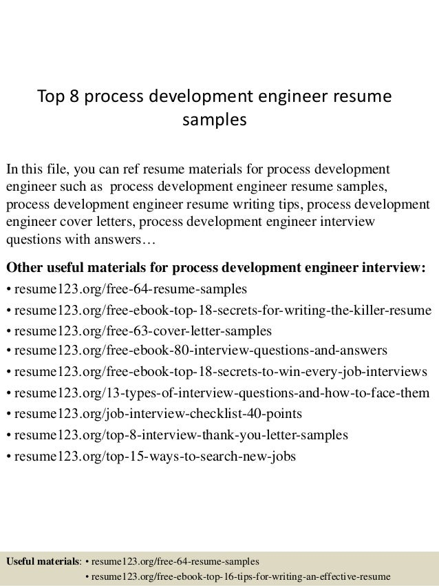 top 8 process development engineer resume samples