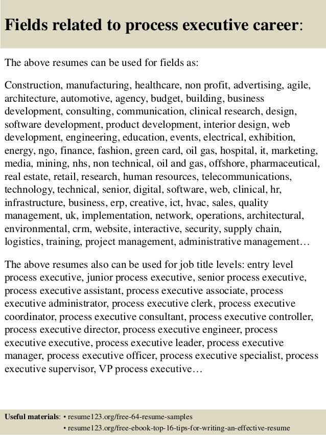 Top 8 process executive resume samples 16 yelopaper Image collections