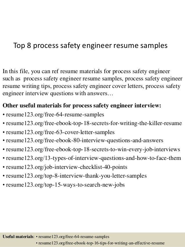 top 8 process safety engineer resume samples