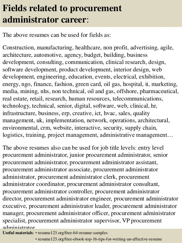Top 8 Procurement Administrator Resume Samples  Procurement Resume