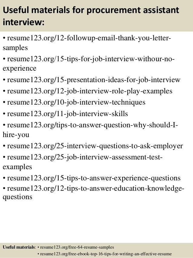 Top 8 procurement assistant resume samples