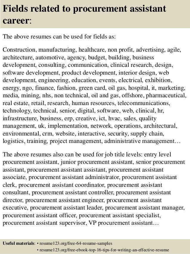 Resume Samples For Purchase Assistant - How to write a ...