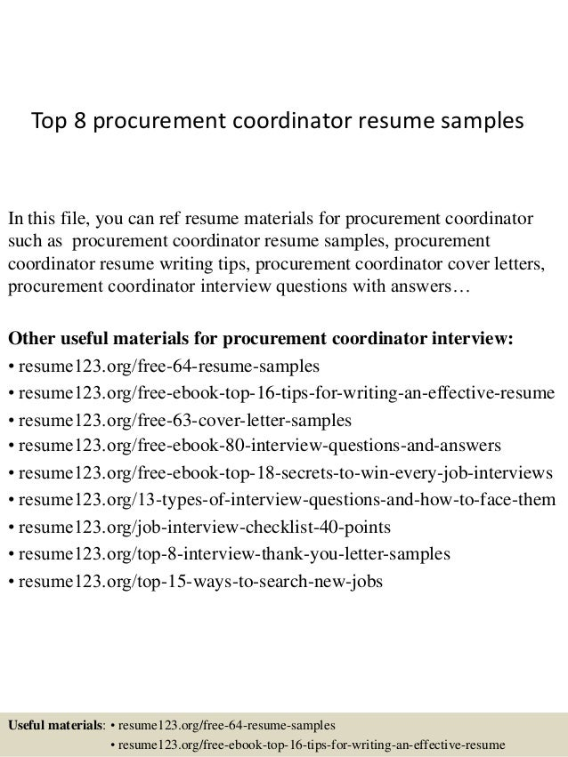top 8 procurement coordinator resume samples