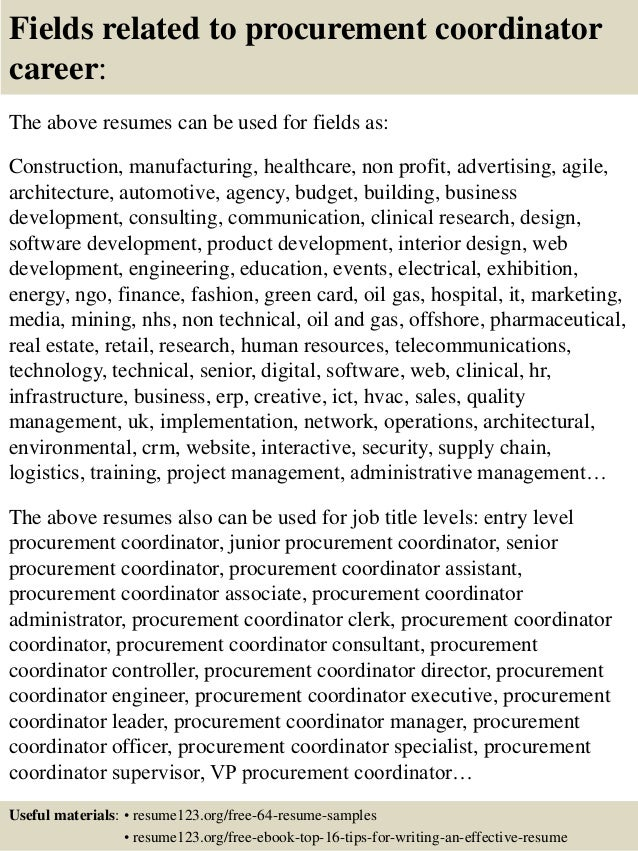 16 fields related to procurement - Procurement Resume Sample