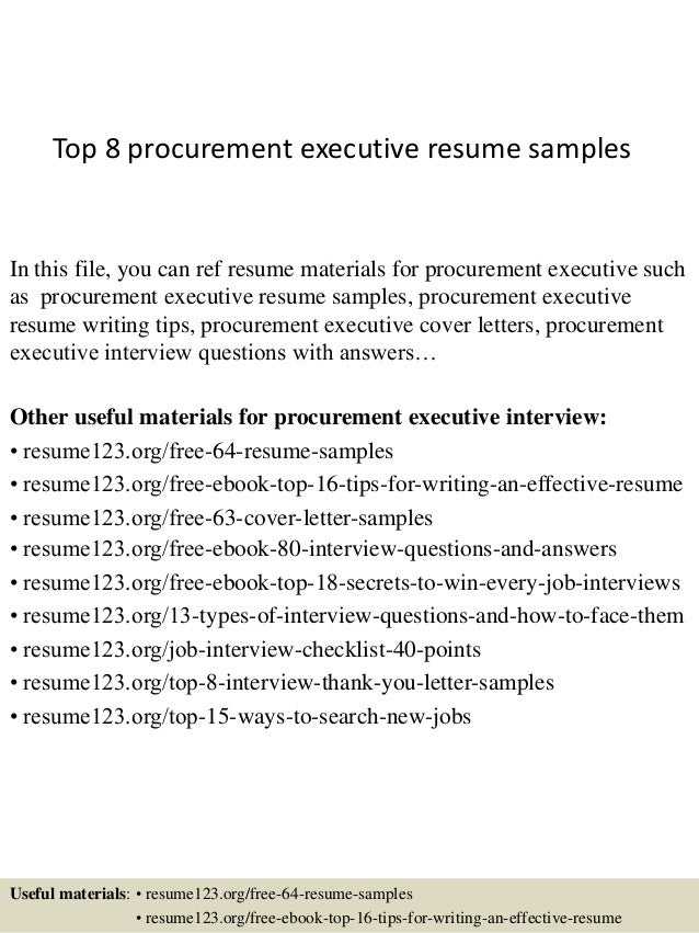 top 8 procurement executive resume samples in this file you can ref resume materials for - Procurement Resume Sample