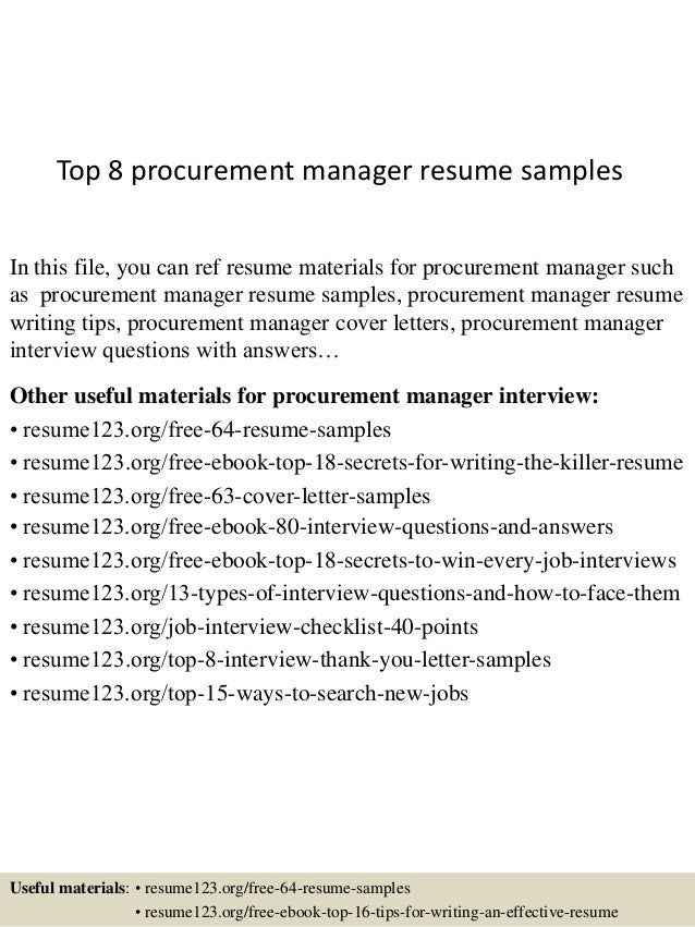 Exceptionnel Top 8 Procurement Manager Resume Samples In This File, You Can Ref Resume  Materials For ...