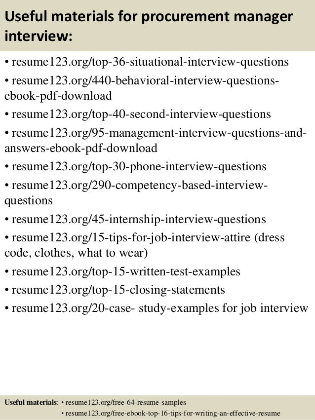 Top 8 Procurement Manager Resume Samples