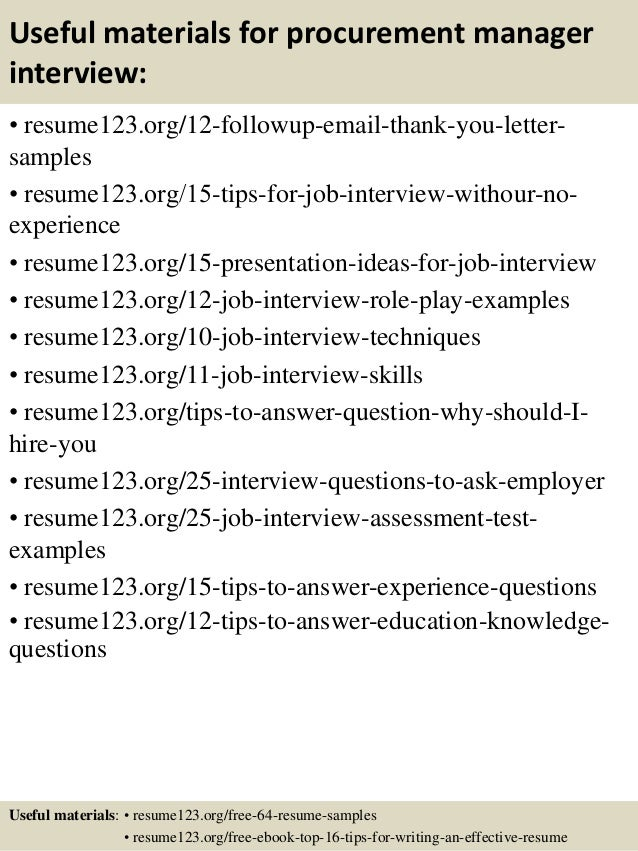top 8 procurement manager resume samples