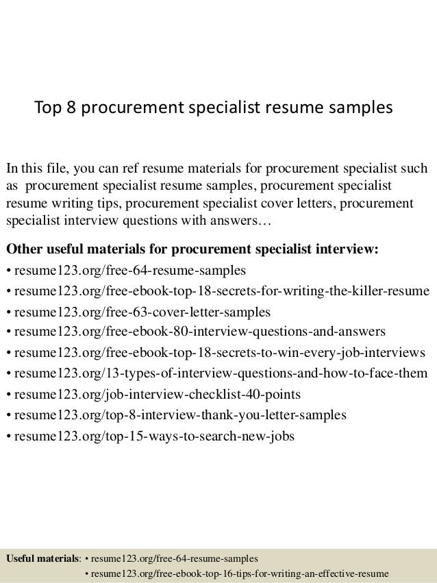 top 8 procurement specialist resume samples in this file you can ref resume materials for - Procurement Specialist Resume